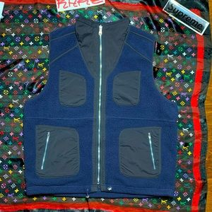7 pocket vest designer double sided top navy fleece and black nylon